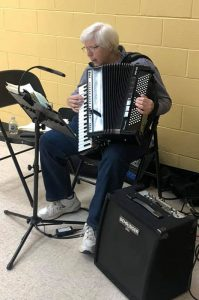 Accordion Player Patricia Walter playing at O'Neil Senior Center